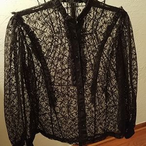 Vintage 80's lace top in black. Size S